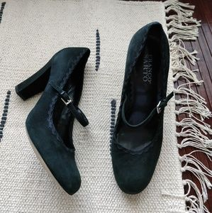 Franco Sarto Black Suede Mary Jane Buckle Heels 8